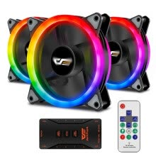 computer-cooling-systems-darkFlash Aurora DR12 Pro 3-Pack Addressable 120mm RGB LED Case Fan Kit Compatible with ASUS Aura Sync on JD