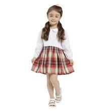 5656a4f6c Niñas Summer Spring Dress 2018 recién llegado de estilo casual manga larga  Patchwork vestidos sueltos ropa para niños vestidos de niña de algodón