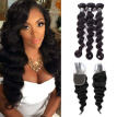 "Amazing Hair Brazilian Virgin Hair Bundles with Closure Loose Wave Hair Bundles with Closure 4x4"" Free Part Soft and Bouncy"
