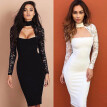 Women Sexy Bridesmaids Dress Pencil Dress Bandage Long Sleeve Evening Party Dress Cocktail Party Dress