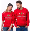 Couple Christmas Matching Tops Lovers Long Sleeve T-shirt Casual Hoodies Tee