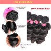 N.L.W. 10A Brazilian virgin human hair 3 bundles with closure Loose wave hair weaves with closure