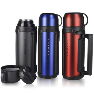 Locks and buckles large capacity thermos mug insulation pot car travel Kettle outdoor water bottle with water storage bowl LHC1427DG black 1.8L