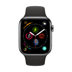 Apple Watch Series 4 smart watch (GPS + cellular network models 44 mm deep space black stainless steel case black sports watch strap MTX22CH / A)