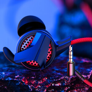 Baseus Type-C Gaming Headphones E-sports In-Ear Double Wheat Line Control Subwoofer Eating Chicken Running Headphones Apple Huawei Millet Samsung vivo Universal Red Black