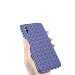 Baseus Apple X mobile phone shell iPhoneX woven high-end mobile phone cover breathable drop protection sleeve Apple iphone10 mobile phone package men and women soft shell 5.8 inches blue