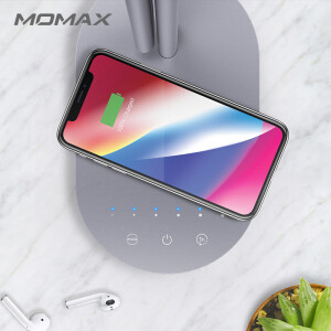 MOMAX wireless charging table lamp Apple X/8Plus wireless charger + LED eye protection desk lamp in one bed desktop office reading smart desk lamp dark gray