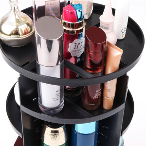 You Jia Liang Pin 360 degree rotating cosmetics storage box plastic makeup box skin care storage storage rack rack squat black
