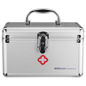 Jinlongxing (glosen) multi-function medicine box home family emergency medicine storage box aluminum alloy with lock sealed box with first aid kit 9 inches