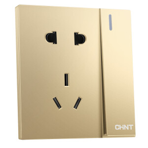 Chint (CHNT) switch socket panel open billing control five-hole socket 10A champagne gold NEW6T series