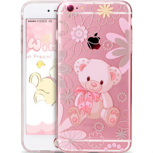 Send AIDS apple iPhone6s Plus / 6PLUS phone shell painted cartoon anti-fall shell rhinestone bear 5.5 inches