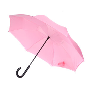 Obolts semi-automatic double-layer reverse umbrella hands-free super large men's long handle straight rod car pink
