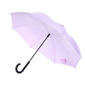 Obolts semi-automatic double-layer reverse umbrella hands-free super large men's long handle straight rod car light purple