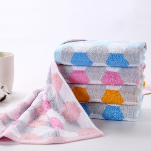 Double lamp dream space face towel classic simple fashion geometric pattern wash towel soft absorbent cotton towel men and women home pink