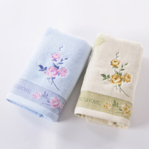 Gold towel home textile cotton towel flawless satin cut velvet embroidered face towel two loaded brown / blue 105g / strip 78 * 36cm