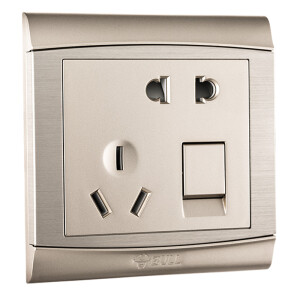 Bull (BULL) switch socket G19 series open a single control five holes with switch socket 86 type panel G19E333 champagne gold