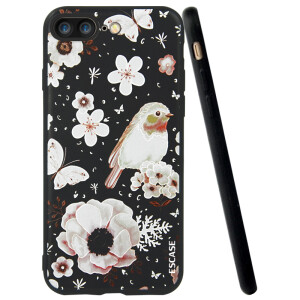 ESCASE Apple iPhone8 / 7 Plus Mobile Phone Case Cartoon Illustration Soft Shell Case 5.5 inch Love Flower and Bird