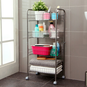Ou Runzhe shelf stainless steel upgrade version can be moved 4 store storage storage vehicles