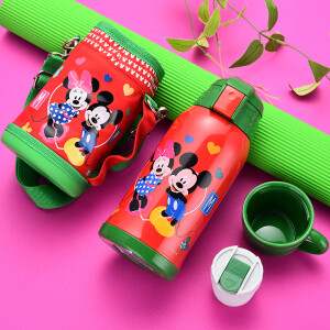 Disney Insulation Cup Children's Suction Water Cups Men's and Women's Students Stainless Steel Kettle Double Cover Coin Set 500ML Red Mickey