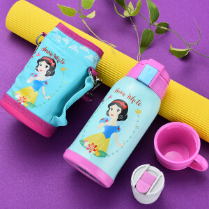【Jingdong Supermarket】 Disney Insulation Cup Children's Suction Water Cups Male and Female Students Stainless Steel Kettle Double Cover Coin Set 500ML Light Green Princess