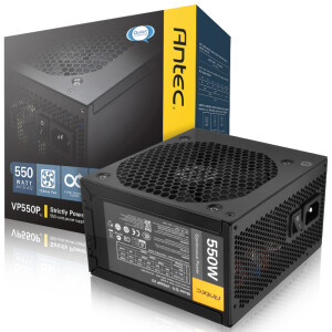Antec Rated 550W VP 550P Computer Power (Active PFC / 12CM Silent Fan / Dual 6 + 2Pin Graphics Connector / Two Year Warranty)