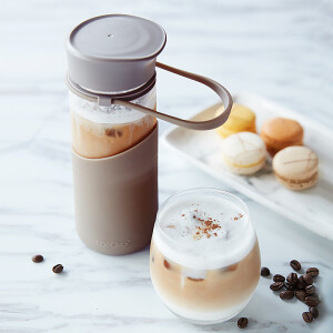 【Jingdong Supermarket】 MIGO glass water cup 0.4L with lid portable tea cup car travel glass bottle men and women