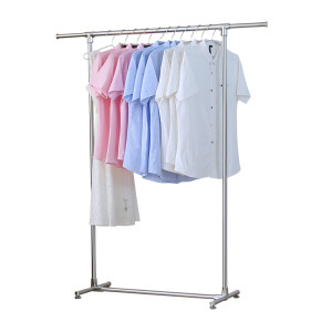 Youyang floor drying rack stainless steel single rod retractable balcony hanger aluminum alloy accessories all metal clothes rack Y-6129