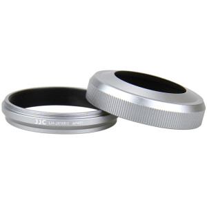 JJC LH-JX100II SILVER Hood (for Fuji X100T X100S alternative LH-X100 comes with adapter ring can be installed 49mm compatible original lens cover)