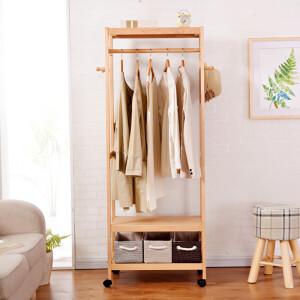 Home Yi coat rack bedroom solid wood floor rack simple modern hanger large brown