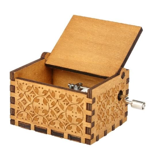 Vintage Wooden Theme Song Music Box Hand-operated Carved Engraving Music Case Creative Holiday Birthday Gifts for Kids Wooden Musi