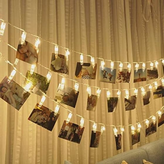 Clips String Lights,10ft 20 LED Photo Clip String Lights Wall Room Indoor Outdoor Decoration