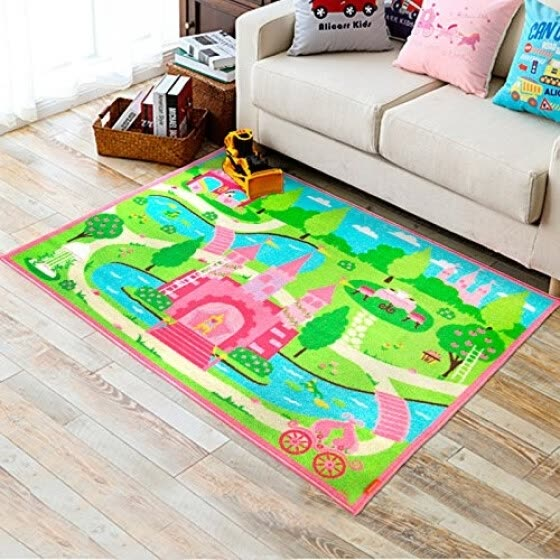 Shop Huahoo Pink Girls Bedroom Rugs Cartoon Castle Kids Rug Bedroom