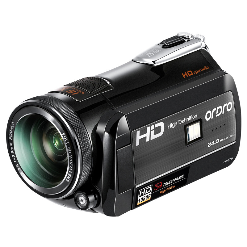 Ouda D397 HD camera digital DV professional camcorder integrated infrared night vision 4K red circle super wide-angle home travel wedding meeting WIFIAPP