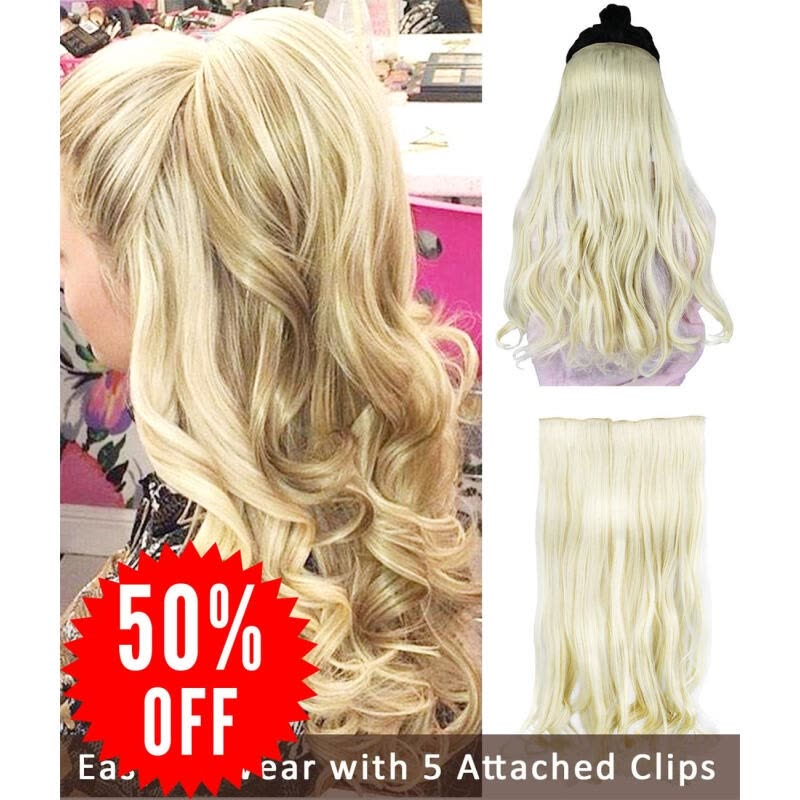 Rhyme 23 Blonde One Piece Hair Extensions 34 Full Head Natural