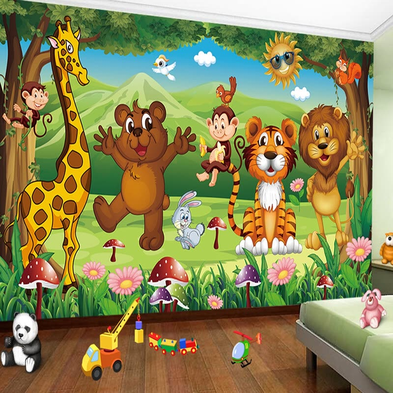 Shop Custom 3d Photo Mural Wallpaper For Kids Room Animal