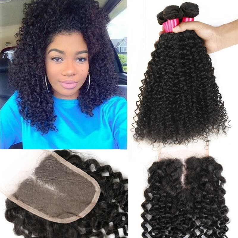 Lace Closure With Brazilian Hair Bundles Kinky Curly Remy Human Hair