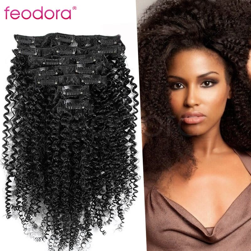 Clip In Human Hair Extensions Virgin Human Hair Afro Kinky Curly