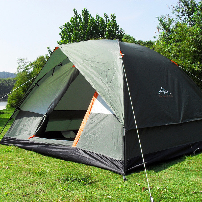 Three Person 200200130cm Double Layer Weather Resistant Outdoor Camping Tent for Fishing, Family Party.