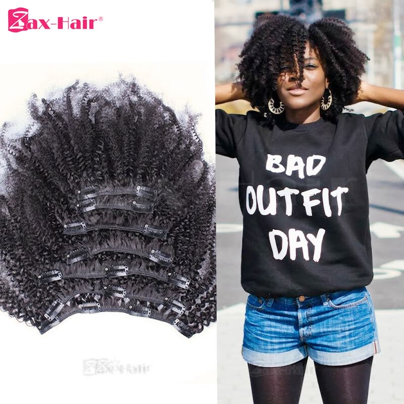 Kinky Curly Clip In Human Hair Extensions 10pcs Clip In Hair