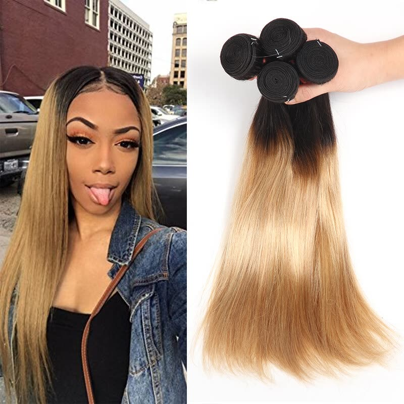 Shop Ombre Malaysian Hair Bundles Straight 1b27 Two Tone Ombre