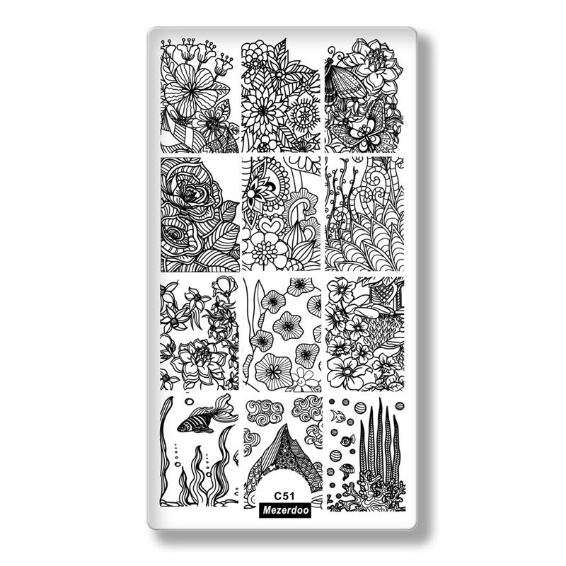 Mezerdoo Summer Theme Rectangle Nail Stamping Plates Icecream Love ...