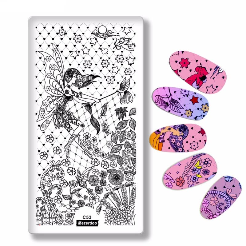 Nail Art Image Printing Stamp Plate Angel Wings Design Beautiful ...