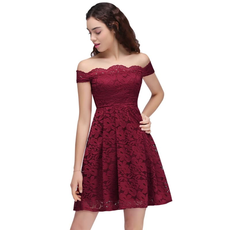 Short Prom Dresses 2017 Backless Lace Plus Size Burgundy Prom Gown