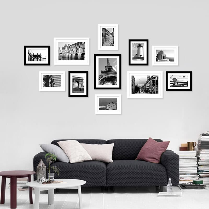 Inkfish photo wall black and white 11 box 7772 Photo wall solid wood ...