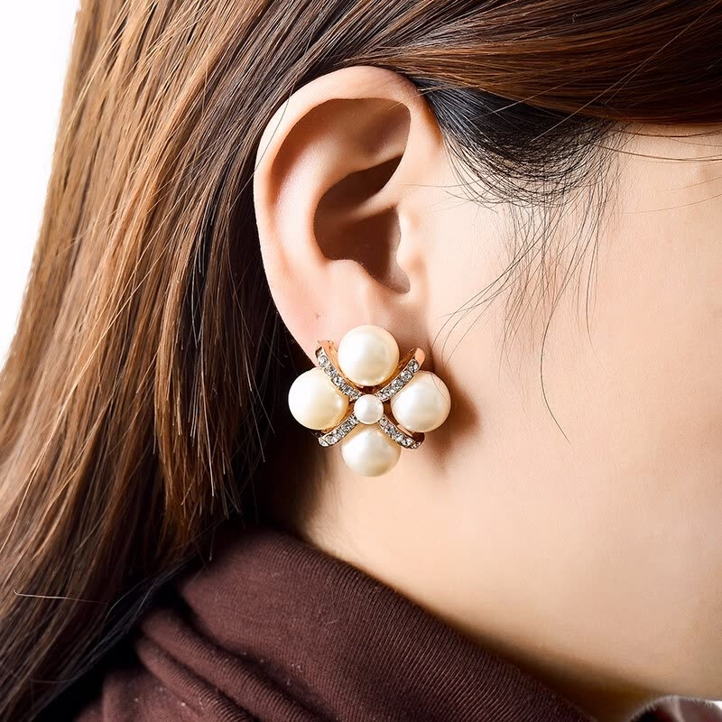 Nice Ping 2019 Fashion Gold Crystal Ear Clip Brincos Perle Penntes Bou Pearl Earrings