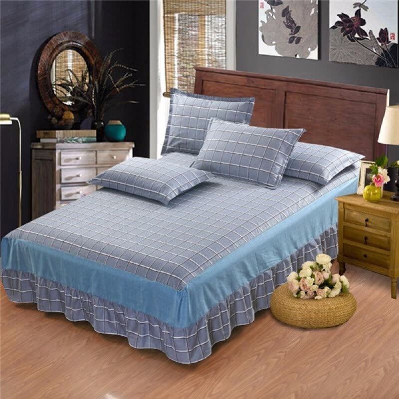 pink gray stripe gray cotton single double bed skirt mattress cover petticoat twin full queen. Black Bedroom Furniture Sets. Home Design Ideas