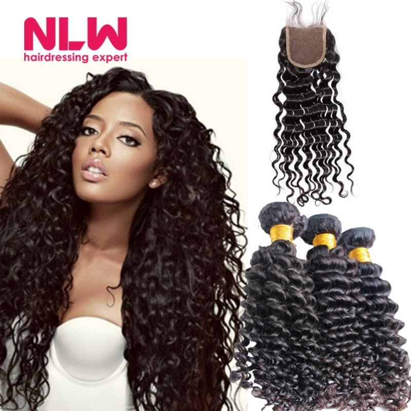 Real Human Brazilian Virgin Deep Wave Curly Hair Extension With