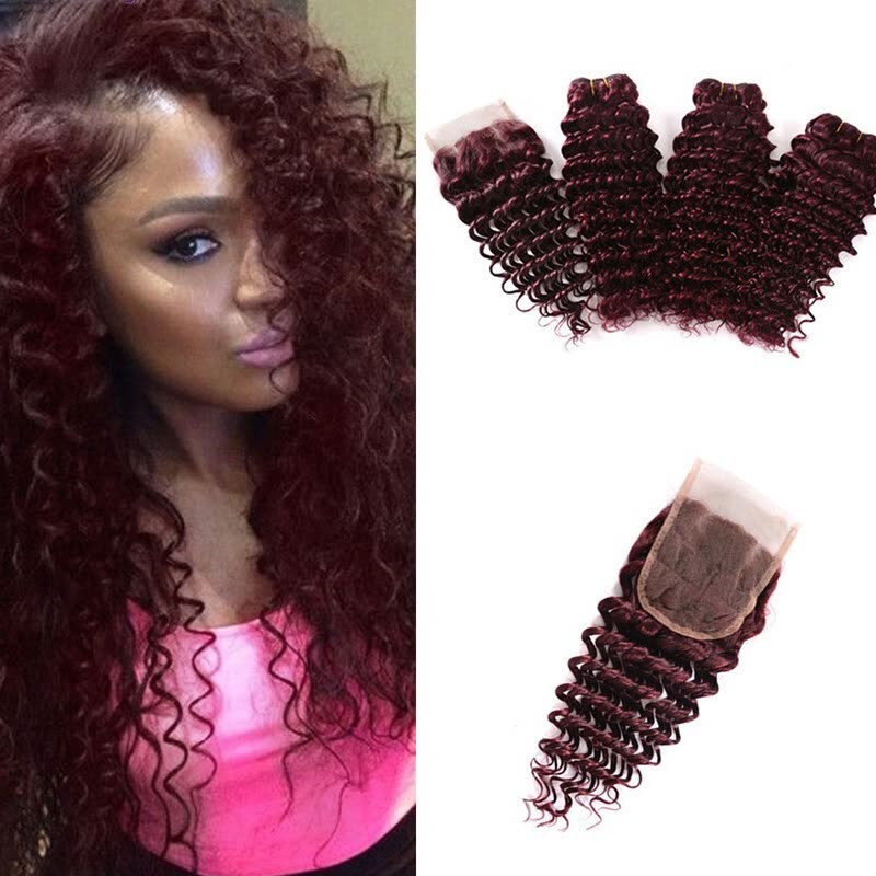 Shop Burgundy Indian Loose Wave Virgin Hair Red Raw Loose Curly Deep
