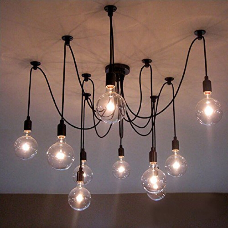 BOKT Vintage Edison Multiple Ajustable DIY Pendant Spider Lights Ceiling  Light Fixtures Metal Chandeliers Lighting(
