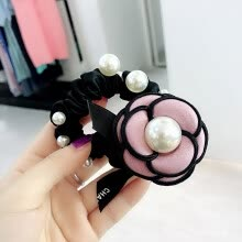 -Women Camellia Flower Hair Rope Pearl Elastic Hairband Ponytail Holder Head Band on JD
